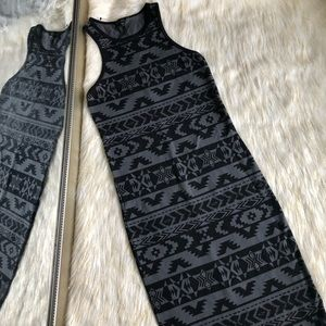 Express | Black & Gray Tribal Midi Bodycon Dress S